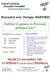 Affiche de la rencontre sur le quinoa à Montbrun-les-Bains