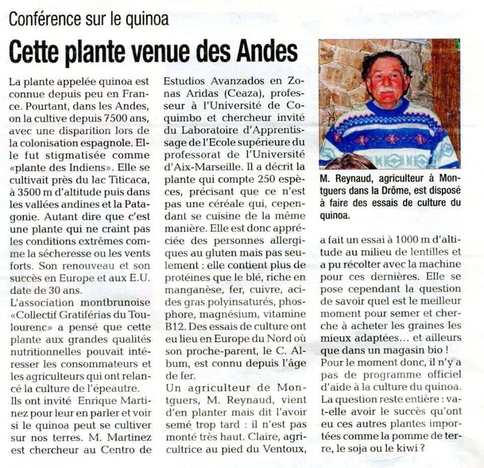 Rencontre quinoa à Montbrun : article publié dans La Tribune